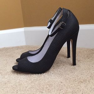 Black ShoeMint heels with ankle strap